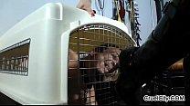 Canine Slave Worships Isobel's Shiny Leather Bo...