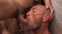 Bisexual party in a sauna, 2 guys en a cute girl