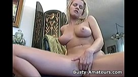Busty Lisa playing her pussy with dildo