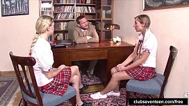 Cute schoolgirls fucking the professor