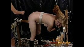 Rau blonde slut with big tits gets whipped hard by a dominatrix