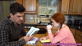 Pigtailed redhead teen banged rou