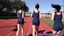 Sporty teen lesbians lick