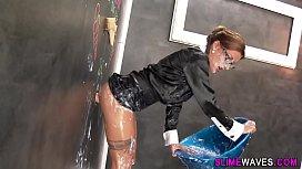 Gloryhole babe gets slime