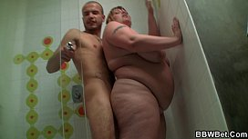 He fucks busty big belly plumper in the shower