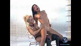 Gorgeous Aneta Keys and ia Saint screwing each other with black dildo