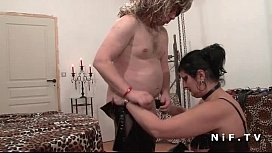 BBW mistress in leather licked by a man slave in fetish action