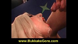 Petite blonde girl swallows
