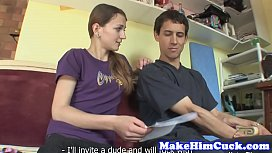 Facialized babe cuckolds her cheating bf