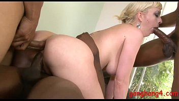 Kinky blond babe double pounded by huge black cocks