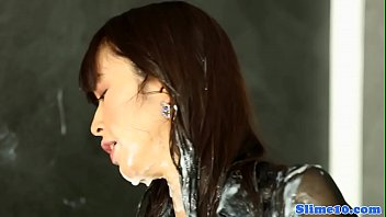 Asian beauty drenched in loads of hot jizz
