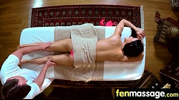 Sexy babe is massaged and fucked by her masseur 16