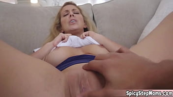 Hot Blonde French stepmother POV blowjob with stepson