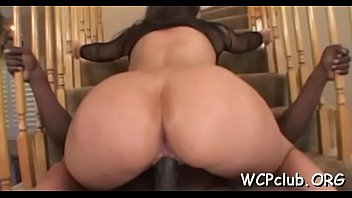 Very sexual white gal performs rodeo on large...