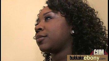 Ebony in a huge bukkake 3