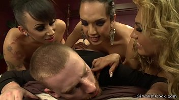 Group of three shemales anal fuck man