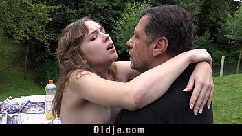 French Young girl outdoor oral slutty sex mouth dirty of old cumshot