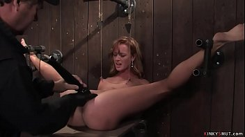 Shackled legs blonde is toyed