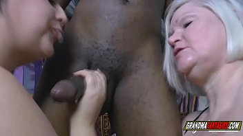 the chubby girl and the grandmother make a threesome with a big black cock
