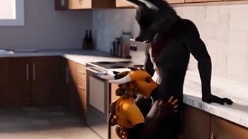 furry wolf kitchen blowjob animation