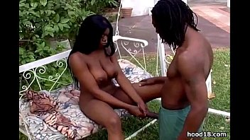 Gorgeous black girl sucking outdoors