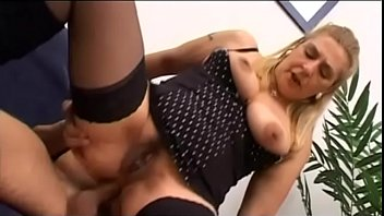 Hot mature mom helps her son in her first fuck