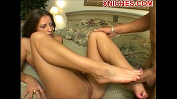 Foot job on the bed hot blonde