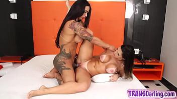 Inked latina tgirl licking and fucking pussy