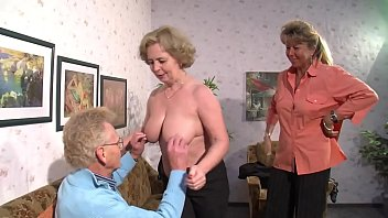 Porn with two mature women fucked by an old man