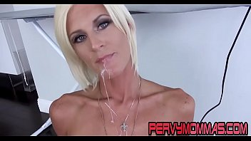 Skanky housewife milf sucking cock pov style for cum mouthful
