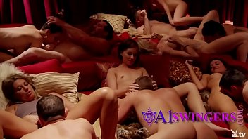 Huge group of lustful swingers are doing a steamy orgy with lots of oral