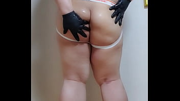 Japanese chubby wrestling outfit oil dancing play...