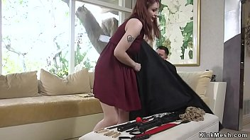 Tied Up Redhead  Butt Whipped