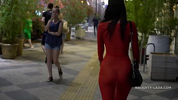 Streaming Video Red transparent dress in public - XLXX.video