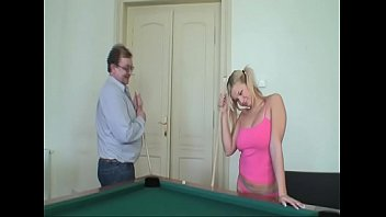 Blondie has a hard fuck on the Billiard table -