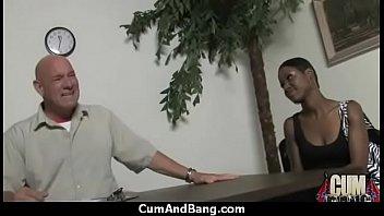 Busty ebony whore sucking fat white dicks 15