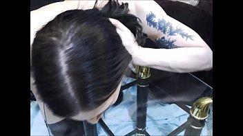 Sexy licking her own cum...