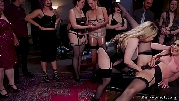 Mistress fists slaves in bdsm party