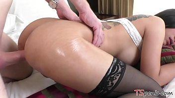 Gorgeous TS Patty gets a huge white dong in her ass