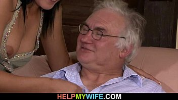 Old hubby watches his sweet wife fuck