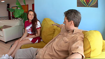Horny teen gags on a huge dick of an older guy and also gets her cunt torn apart