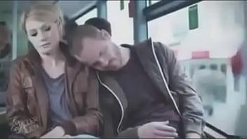 blonde m. by fake sleeper on bus