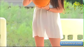 Cutie amateur teen girl Aveline finger fuck her pussy deep outside and plays with her pubic hair