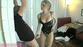 Ball Collector'_s New Victim with Vanessa Vixon PANTYHOSE LEGGINGS BALLBUSTING
