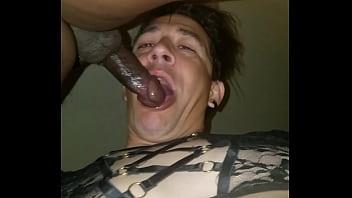 White twink suck black dick
