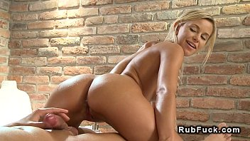Blonde masseuse banging in cowgirl position