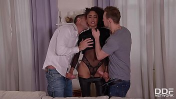Caress Redress: Hot Black Beauty Fucked By Two Horny Guys