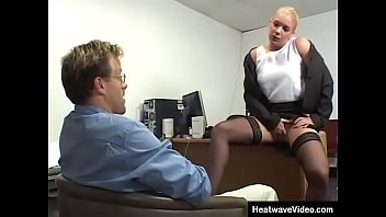 Mature boss MILF fucked over own office room