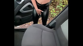 Oral sex in machine outdoor... sexy dressed in leggins Mia gives her best oral sex.