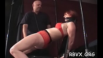 Nipple torture and vibrator play for ballgagged floozy...